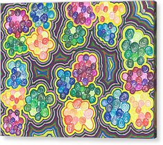 Acrylic Print featuring the drawing Flower Frenzy by Jill Lenzmeier