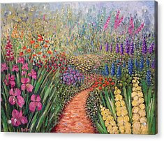 Acrylic Print featuring the painting Flower Gar02den  by Lynn Buettner