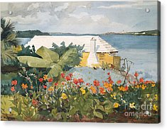 Flower Garden And Bungalow, Bermuda, 1899  Acrylic Print by Winslow Homer