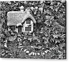 Flower Garden Cottage In Black And White Acrylic Print
