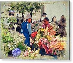 Flower Market - Cuenca - Ecuador Acrylic Print
