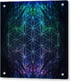 Flower Of Life Neon Acrylic Print by Edouard Coleman