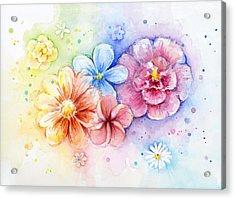 Flower Power Watercolor Acrylic Print by Olga Shvartsur