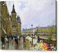 Flower Sellers By The Seine Acrylic Print by Georges Stein