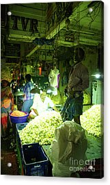 Acrylic Print featuring the photograph Flower Stalls Market Chennai India by Mike Reid