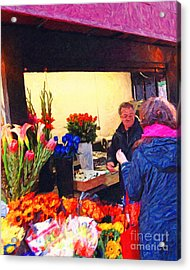 Flower Stand On Stockton And Geary Street . Photoart Acrylic Print by Wingsdomain Art and Photography