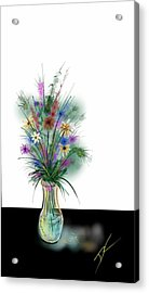 Acrylic Print featuring the digital art Flower Study One by Darren Cannell