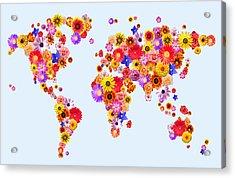 Flower World Map Acrylic Print