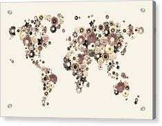 Flower World Map Sepia Acrylic Print by Michael Tompsett