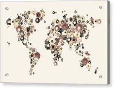 Flower World Map Sepia Acrylic Print