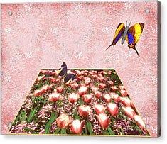 Flowerbed Of Tulips Acrylic Print