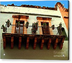 Flowered Balcony Acrylic Print by Mexicolors Art Photography