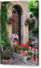Flowered Montechiello Door Acrylic Print