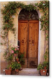 Flowered Tuscan Door Acrylic Print by Donna Corless