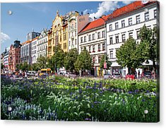 Acrylic Print featuring the photograph Flowering Wenceslas Square In Prague by Jenny Rainbow