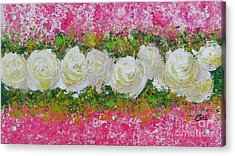 Flowerline In Pink And White Acrylic Print