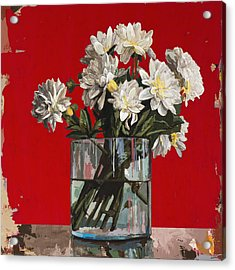 Acrylic Print featuring the painting Flowers #4 by David Palmer