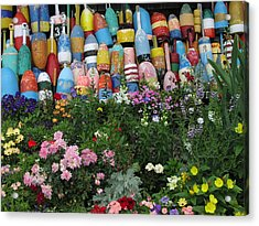 Flowers And Bouys Acrylic Print by Mike Martin