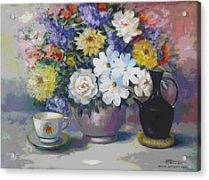 Flowers And Coffee Pot Acrylic Print