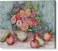 Flowers And Fruit Arrangement Acrylic Print