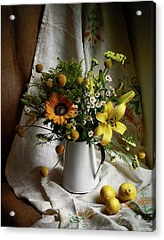 Flowers And Lemons Acrylic Print