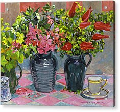 Flowers And Pitchers Acrylic Print by David Lloyd Glover
