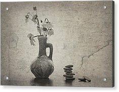 Flowers And Stones Acrylic Print by larisa Fedotova
