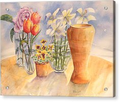 Flowers And Terra Cotta Acrylic Print