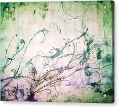 Flowers And Vines Two Acrylic Print by Tomislav Neely-Turkalj