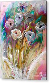 Flowers Behind The Fence Painting Acrylic Print by Lisa Kaiser
