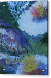 Flowers Bending With The Wind Acrylic Print by Anne-Elizabeth Whiteway