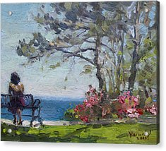 Flowers By Lake Ontario Acrylic Print by Ylli Haruni