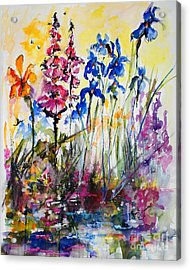 Flowers By The Pond Blue Irises Foxglove Acrylic Print
