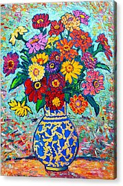 Flowers - Colorful Zinnias Bouquet Acrylic Print