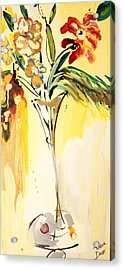 Flowers Flowing In Yellow Acrylic Print by Amara Dacer