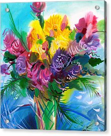 Flowers For My Jesus Acrylic Print by Karen Showell