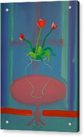 Acrylic Print featuring the painting Flowers In A Bay Window by Charles Stuart
