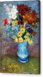 Acrylic Print featuring the painting Flowers In A Blue Vase  by Van Gogh