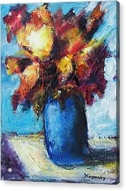 Acrylic Print featuring the painting Flowers In A Blue Vase. by Yulia Kazansky
