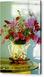 Flowers In A Teapot Acrylic Print by Patricia Greer