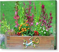 Flowers In A Wooden Flower Bed Acrylic Print by Lanjee Chee