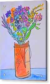 Flowers In An Orange Mason Jar Acrylic Print