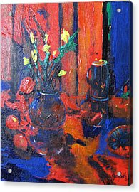 Acrylic Print featuring the painting Flowers In Blue Vase by Gary Smith