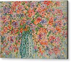Flowers In Crystal Vase. Acrylic Print