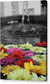 Flowers In Fountain Acrylic Print