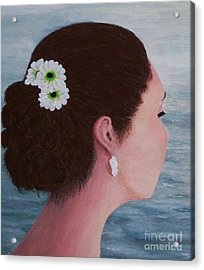 Flowers In Her Hair Acrylic Print by Judy Kirouac