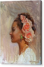 Pretty Flowers - Impressionistic Portrait Of Young Woman Acrylic Print by Karen Whitworth