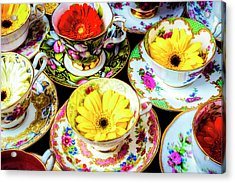 Flowers In Tea Cups Acrylic Print