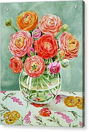 Flowers In The Glass Vase Acrylic Print by Irina Sztukowski
