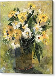 Flowers In White And Yellow Acrylic Print by Nira Schwartz